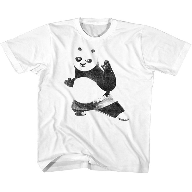 Kung Fu Panda Strike A Pose White Youth T-Shirt