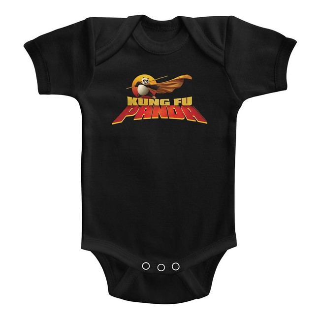 Kung Fu Panda Cape Flare Logo Black Baby Onesie T-Shirt