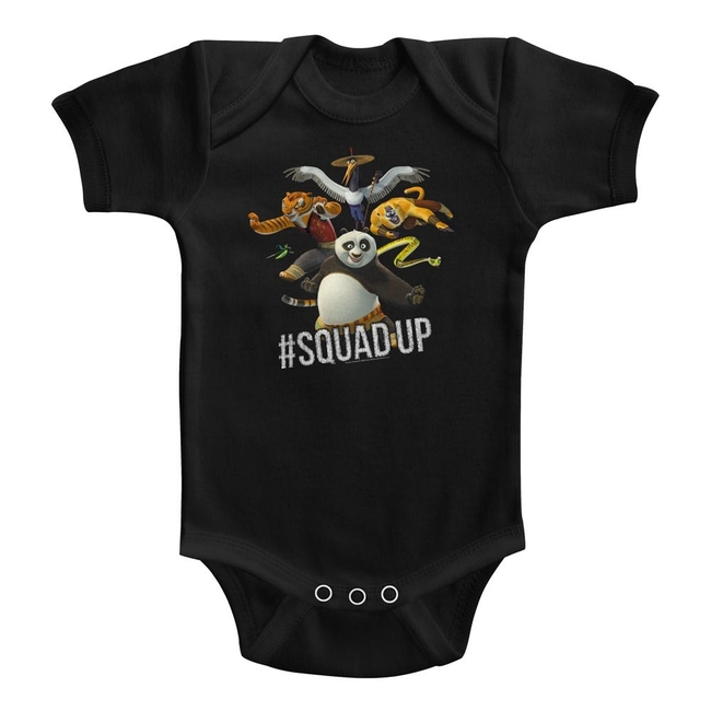 Kung Fu Panda Squad Up Black Baby Onesie T-Shirt