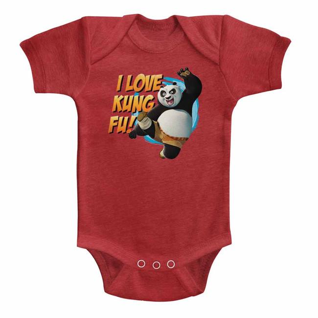 Kung Fu Panda Love Kung Fu Vintage Red Baby Onesie T-Shirt