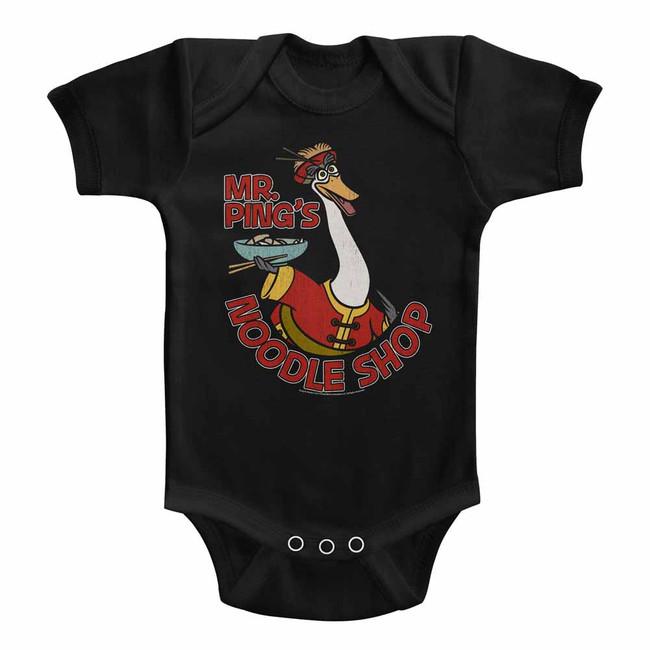 Kung Fu Panda Noodle Shop Black Baby Onesie T-Shirt