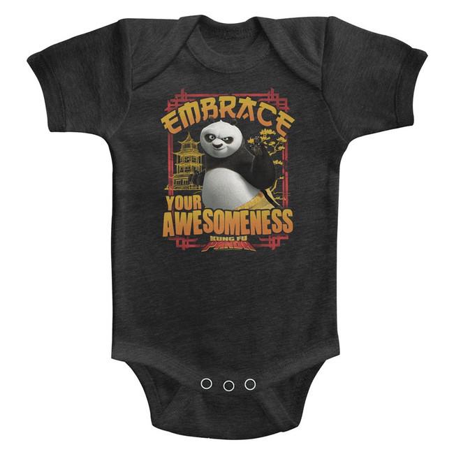 Kung Fu Panda Embrace Awesomeness Vintage Smoke Baby Onesie T-Shirt