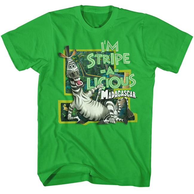 Madagascar Stripe-A-Licious Green Adult T-Shirt