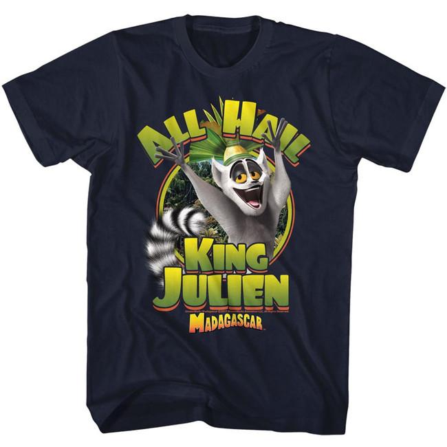 Madagascar King Julien Navy Adult T-Shirt