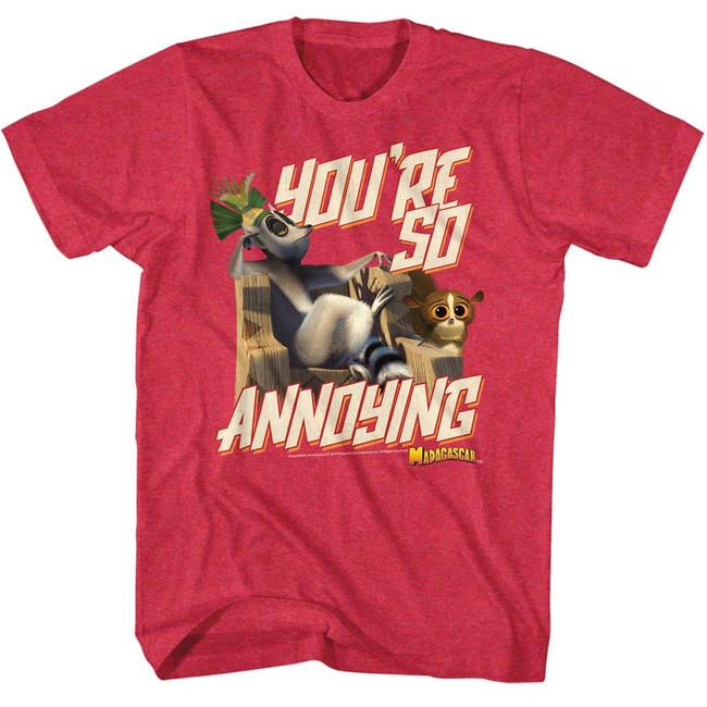 Madagascar Annoying Cherry Heather Adult T-Shirt