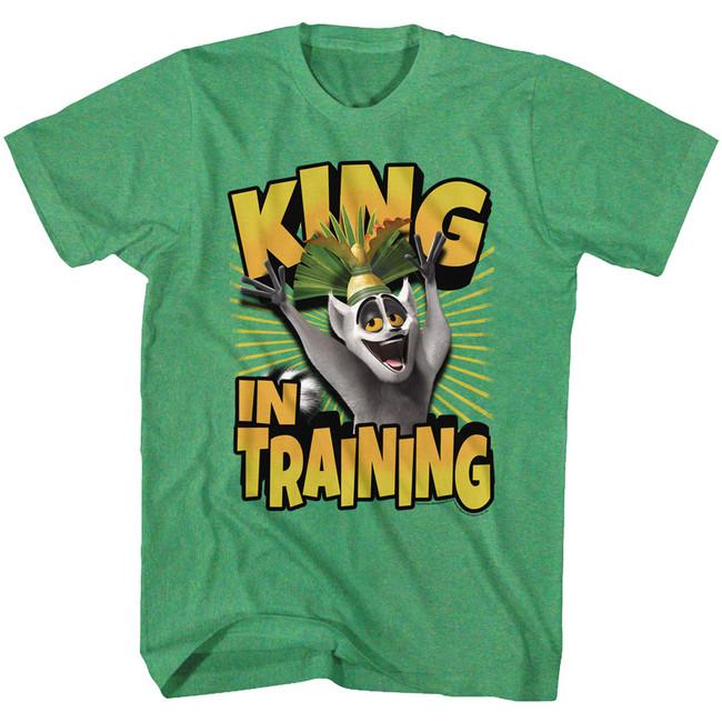 Madagascar King In Training Green Heather Adult T-Shirt