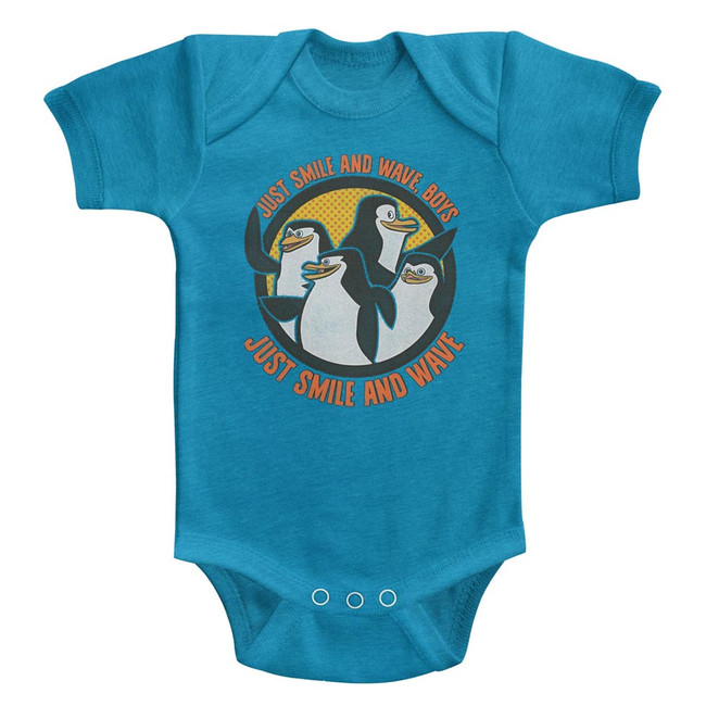 Madagascar Smile And Wave Turquoise Baby Onesie T-Shirt