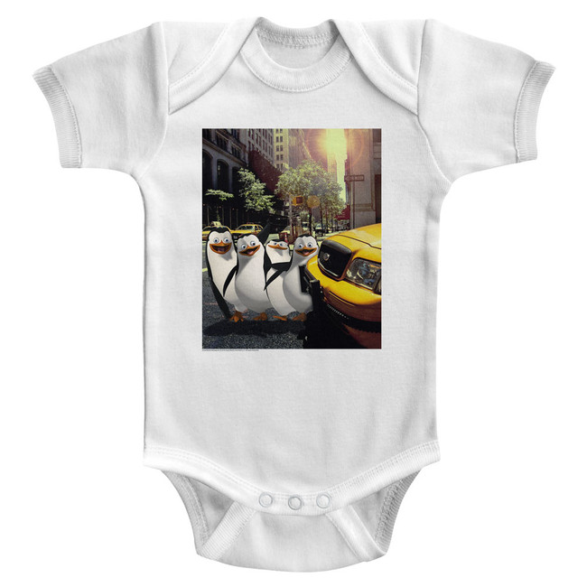 Madagascar Penguin NYC White Baby Onesie T-Shirt