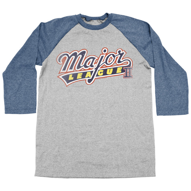 Major League Logo Gray/Blue Adult Raglan Baseball T-Shirt