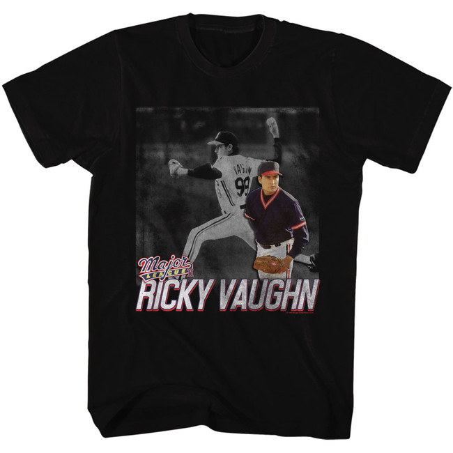 Major League Ricky Pitching Black Adult T-Shirt