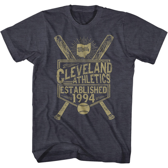 Major League Vintage Indians Navy Heather Adult T-Shirt