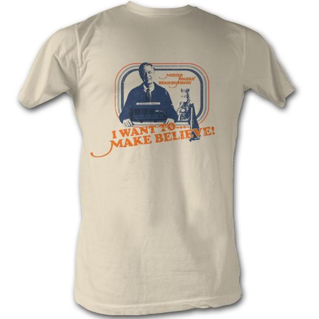 Mister Rogers Make Believe Natural Adult T-Shirt