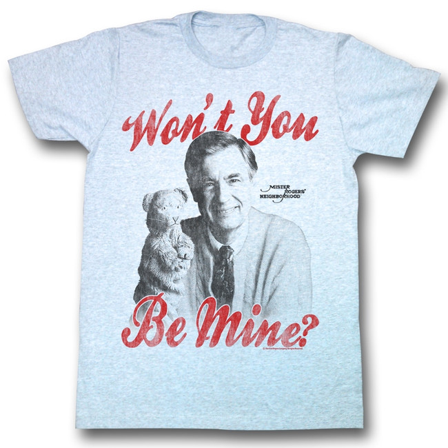 Mister Rogers Be Mine Gray Heather Adult T-Shirt