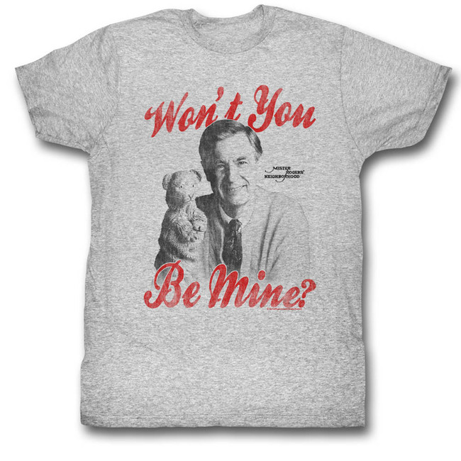 Mister Rogers Be Mine Classic Gray Heather Adult T-Shirt