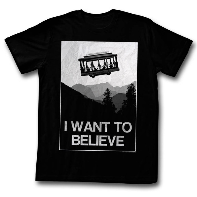 Mister Rogers Believe Black Adult T-Shirt