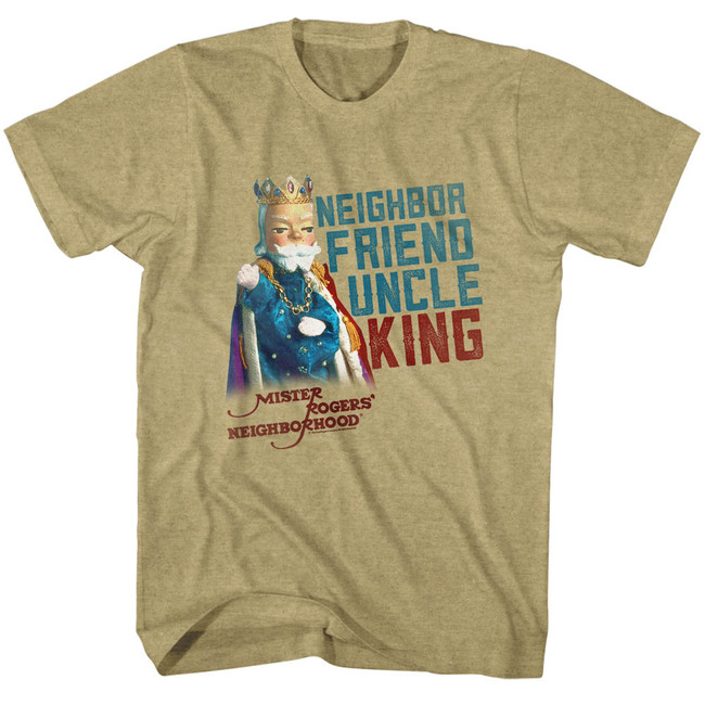 Mister Rogers Friend Uncle King Khaki Heather Adult T-Shirt