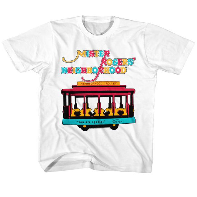 Mister Rogers Trolley White Children's T-Shirt
