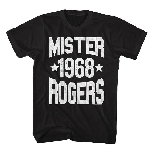 Mister Rogers 1968 Black Adult T-Shirt