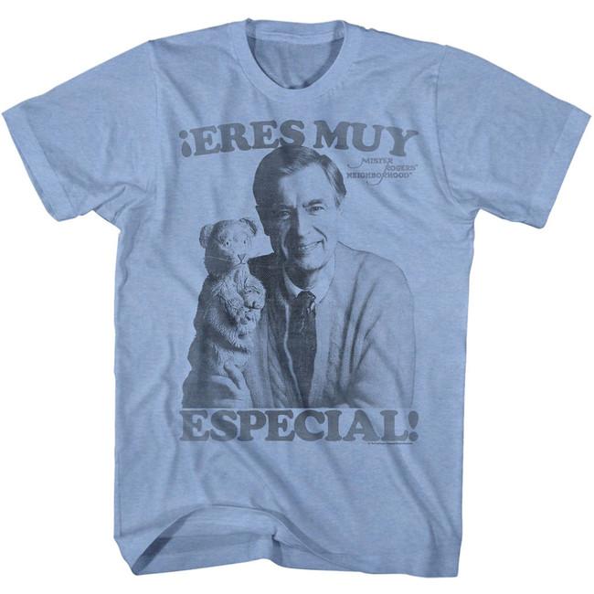 Mister Rogers Especial Light Blue Heather Adult T-Shirt