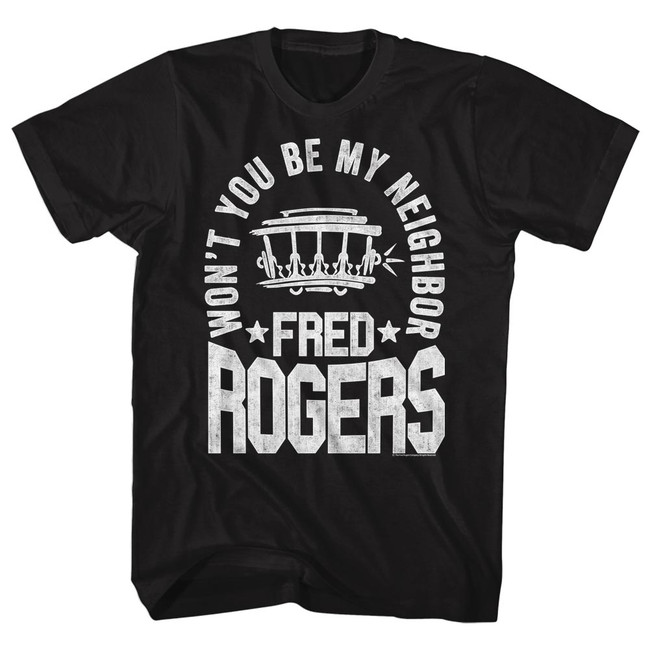 Mister Rogers Fred Black Adult T-Shirt