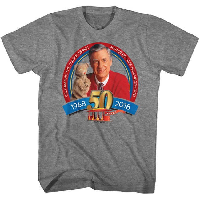 Mister Rogers 50Th Anniversary Graphite Heather Adult T-Shirt