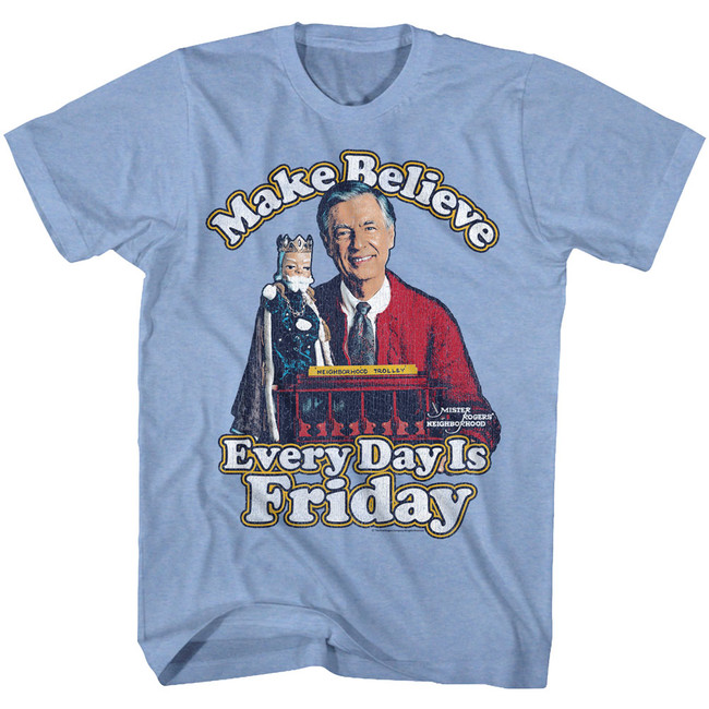 Mister Rogers Friday Everyday Light Blue Heather Adult T-Shirt