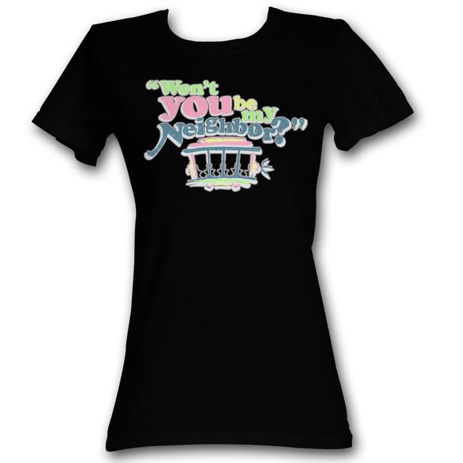 Mister Rogers Cute Neighbor Black Junior Women's T-Shirt