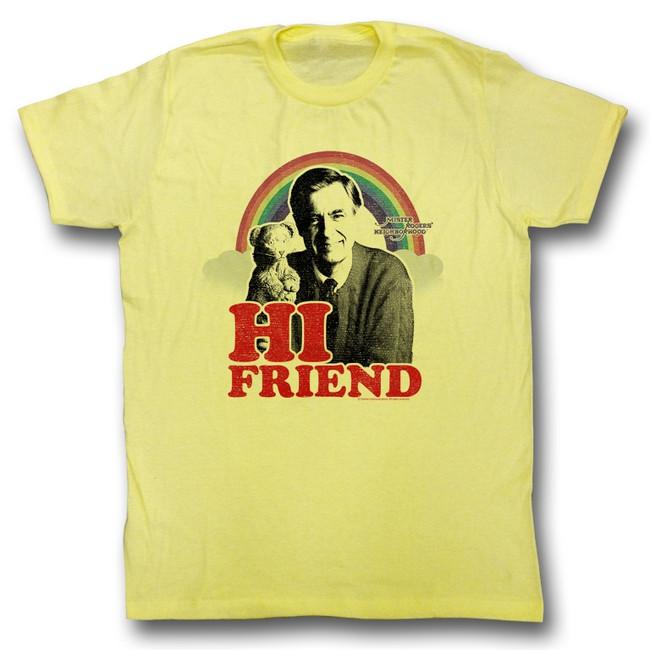 Mister Rogers Hi Friend Yellow Heather Adult T-Shirt