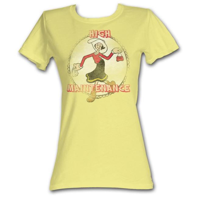Popeye High Maintenance Yellow Junior Women's T-Shirt
