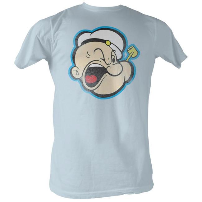 Popeye Head Color Light Blue Adult T-Shirt