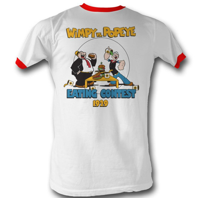 Popeye Eating Contest White/Red Adult Ringer T-Shirt