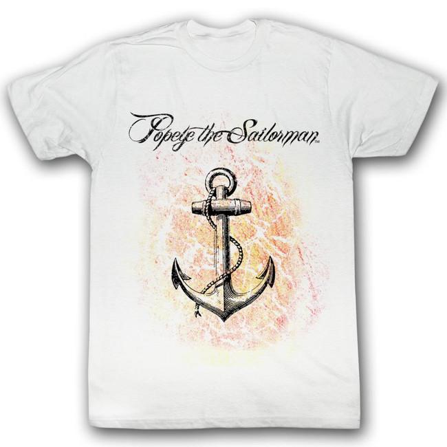 Popeye Anchor White Adult T-Shirt
