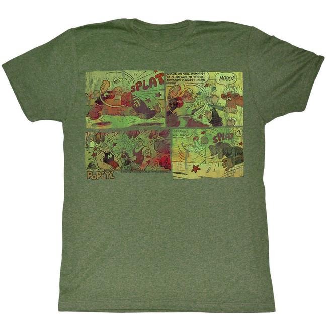 Popeye Fightin' Around The World Military Green Adult T-Shirt