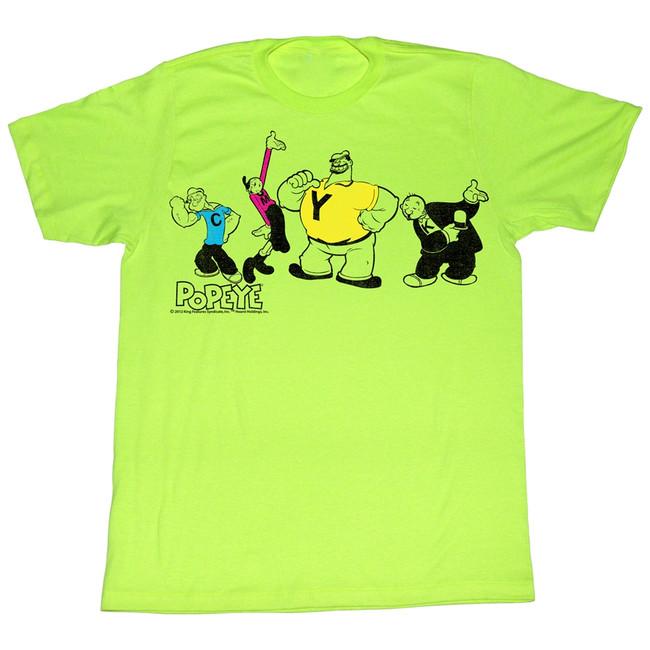 Popeye CMYK Neon Mint Heather Adult T-Shirt