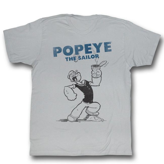 Popeye Four Sail Silver Adult T-Shirt