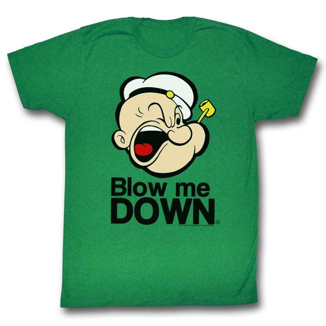 Popeye Blow Me Down Kelly Adult T-Shirt