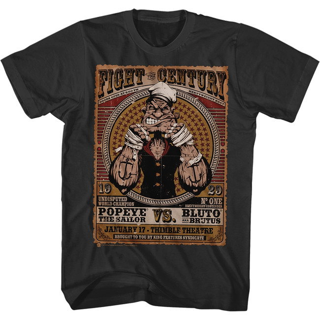 Popeye Fight Of The Century Black Adult T-Shirt