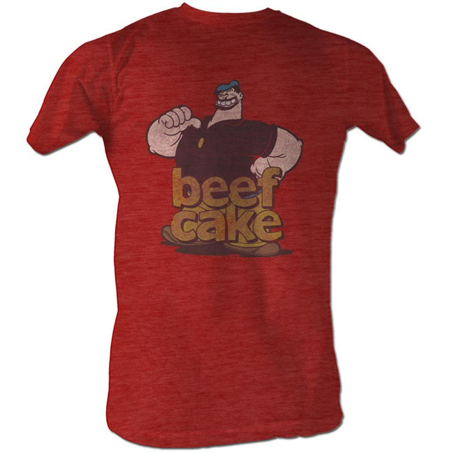 Popeye Beef Cake Red Heather Adult T-Shirt