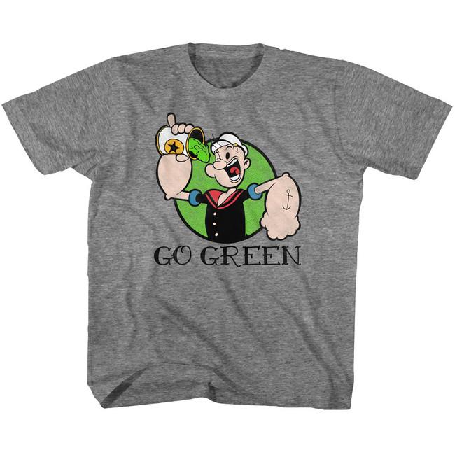 Popeye Go Green Graphite Heather Youth T-Shirt