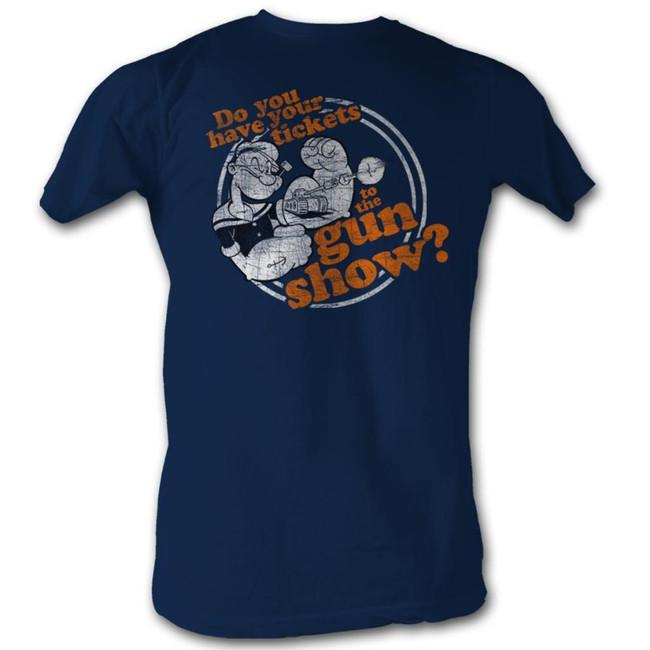 Popeye Gun Show Navy Adult T-Shirt