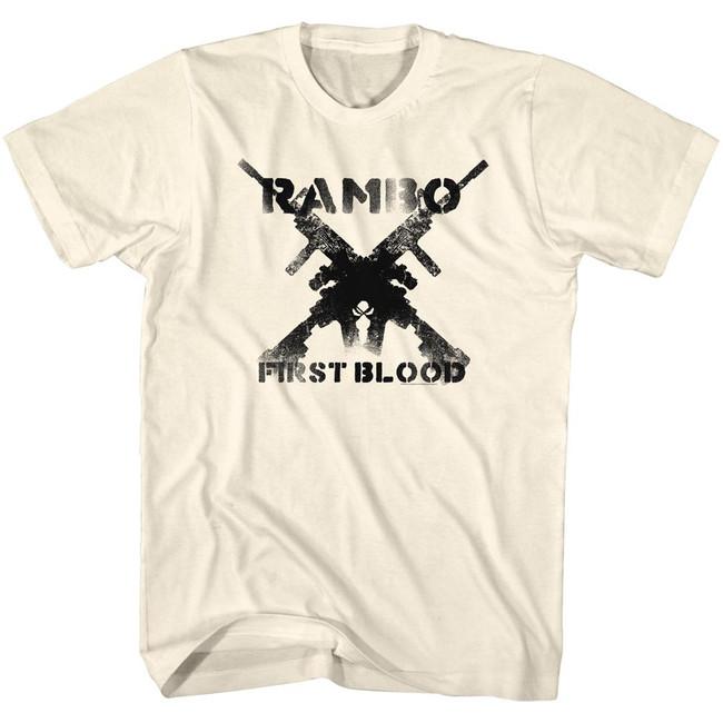 Rambo Guns Natural Adult T-Shirt