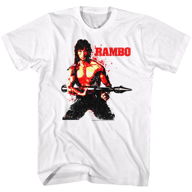 Rambo Red Rambo White Adult T-Shirt