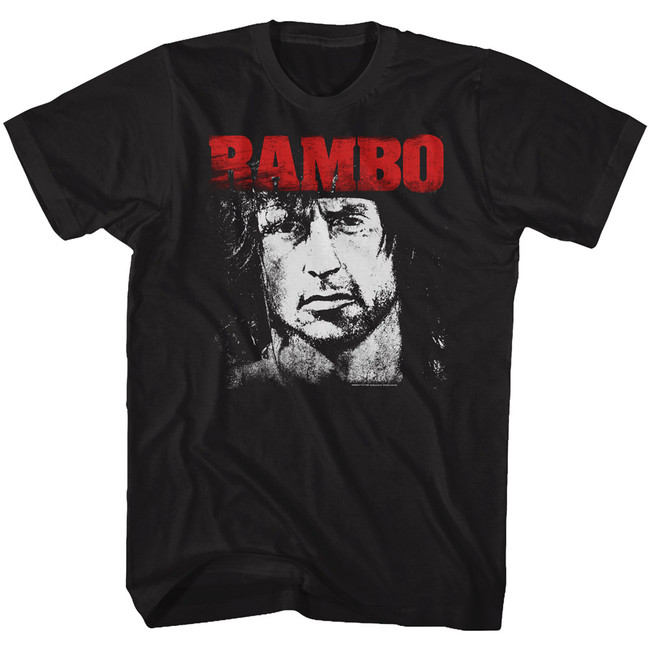 Rambo Red And White Black Adult T-Shirt