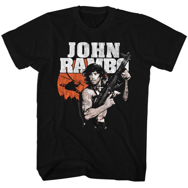 Rambo John Rambo Black Adult T-Shirt