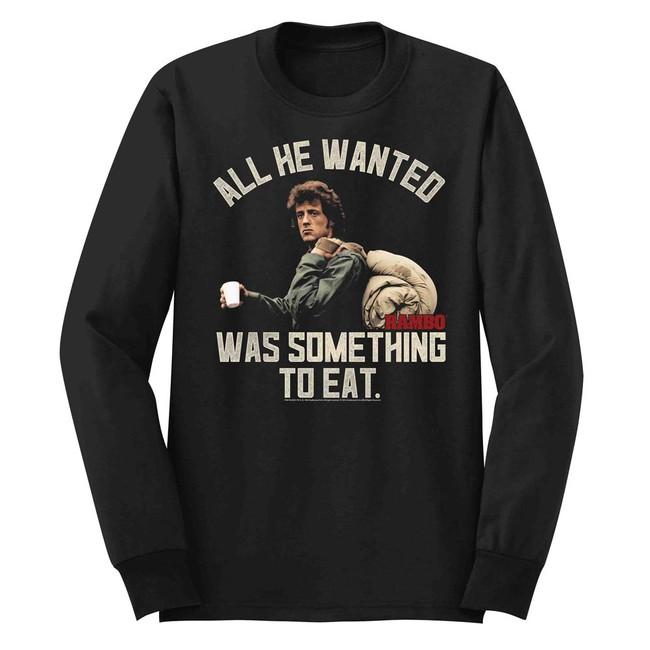 Rambo Something To Eat Black Adult Long Sleeve T-Shirt