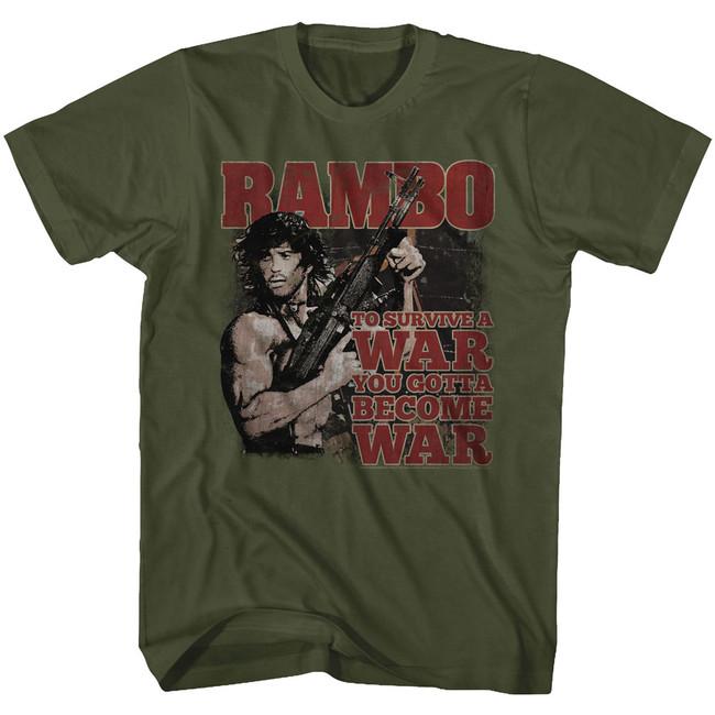 Rambo Become War Military Green Adult T-Shirt