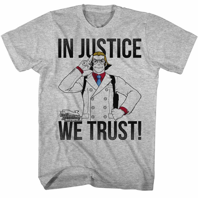 Ace Attorney In Justice We Trust Gray Heather Adult T-Shirt