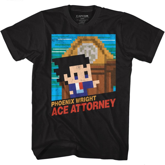 Ace Attorney 8Bit Cover Black Adult T-Shirt