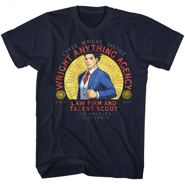 Ace Attorney Wright Anything Navy Adult T-Shirt