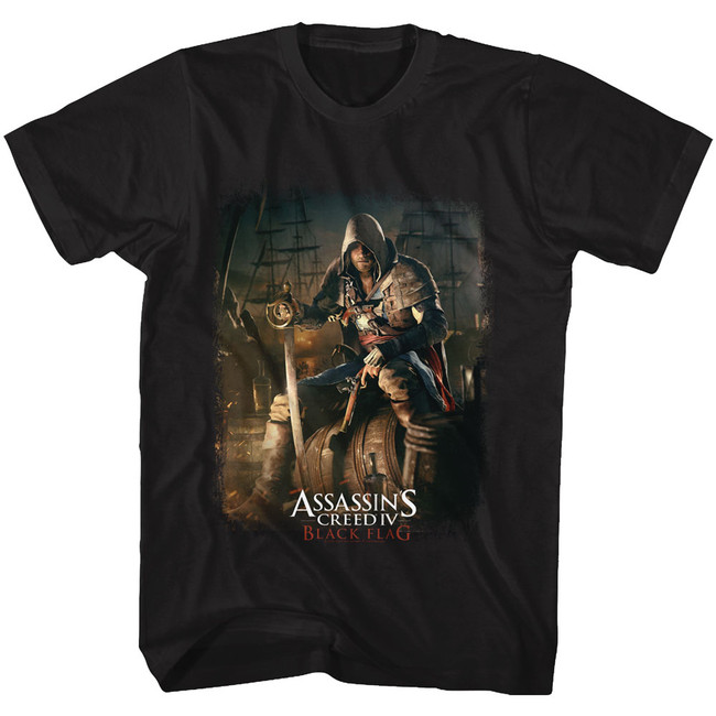 Assassin's Creed Barrel O' Fun Black Adult T-Shirt